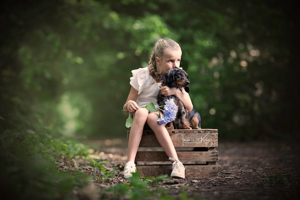 Fotoshoot hond en kind