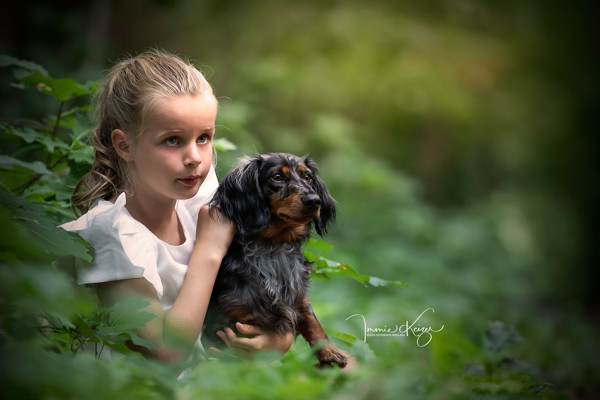 kind en hond fotoshoot