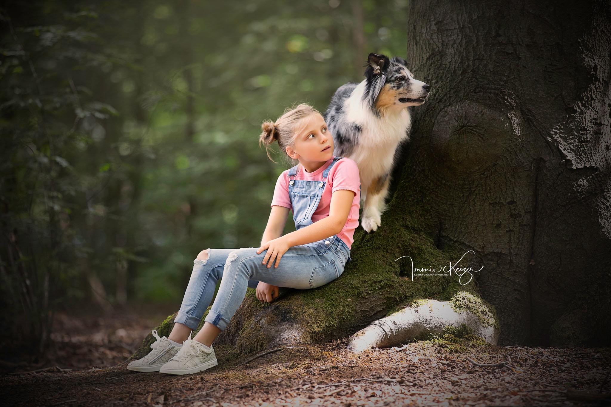 Kind-Hond Huisdier Fotoshoot-Meisje met Hond